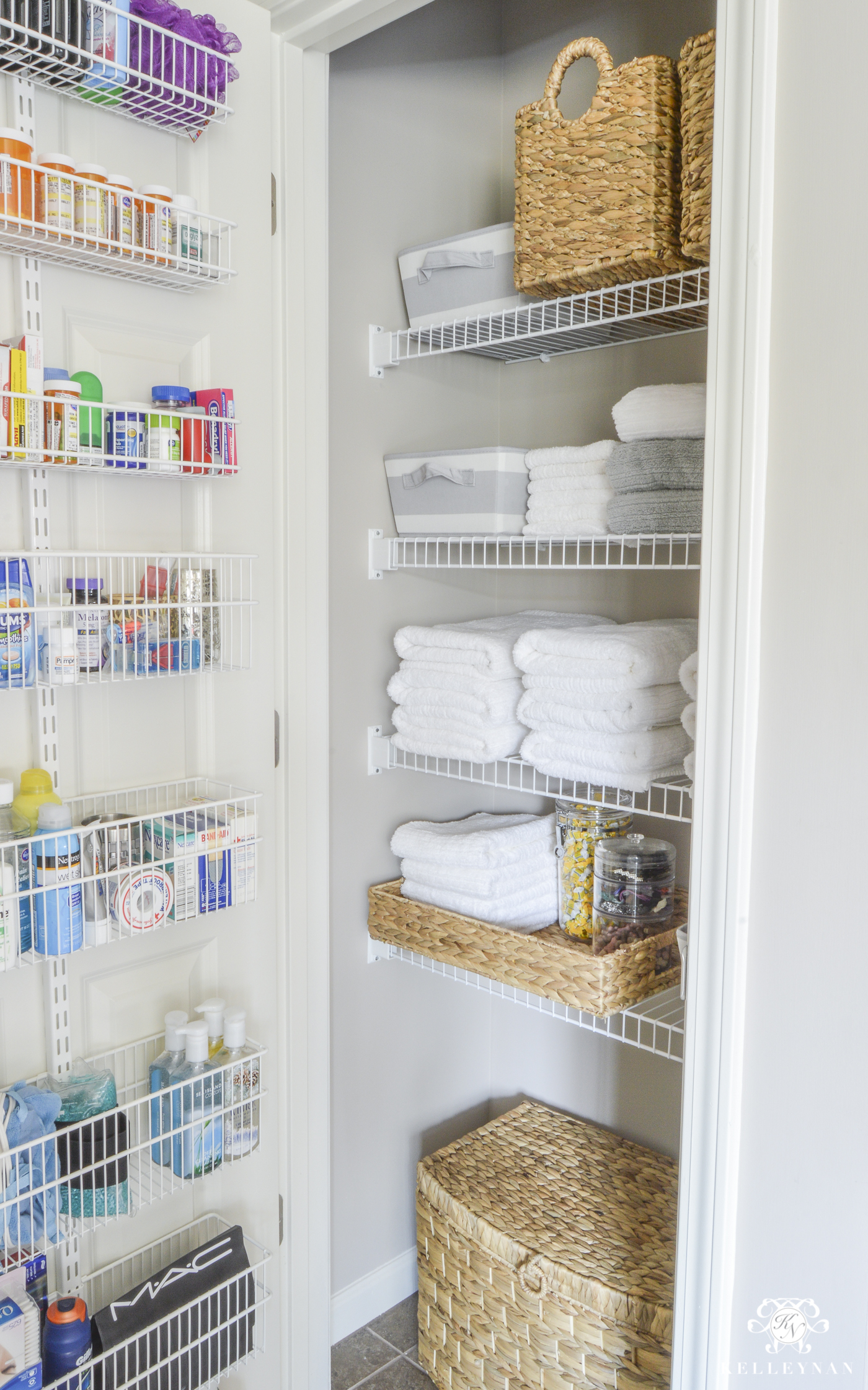 20 Beautifully Organized Linen Closets The Happy Housie in dimensions 1400 X 2241