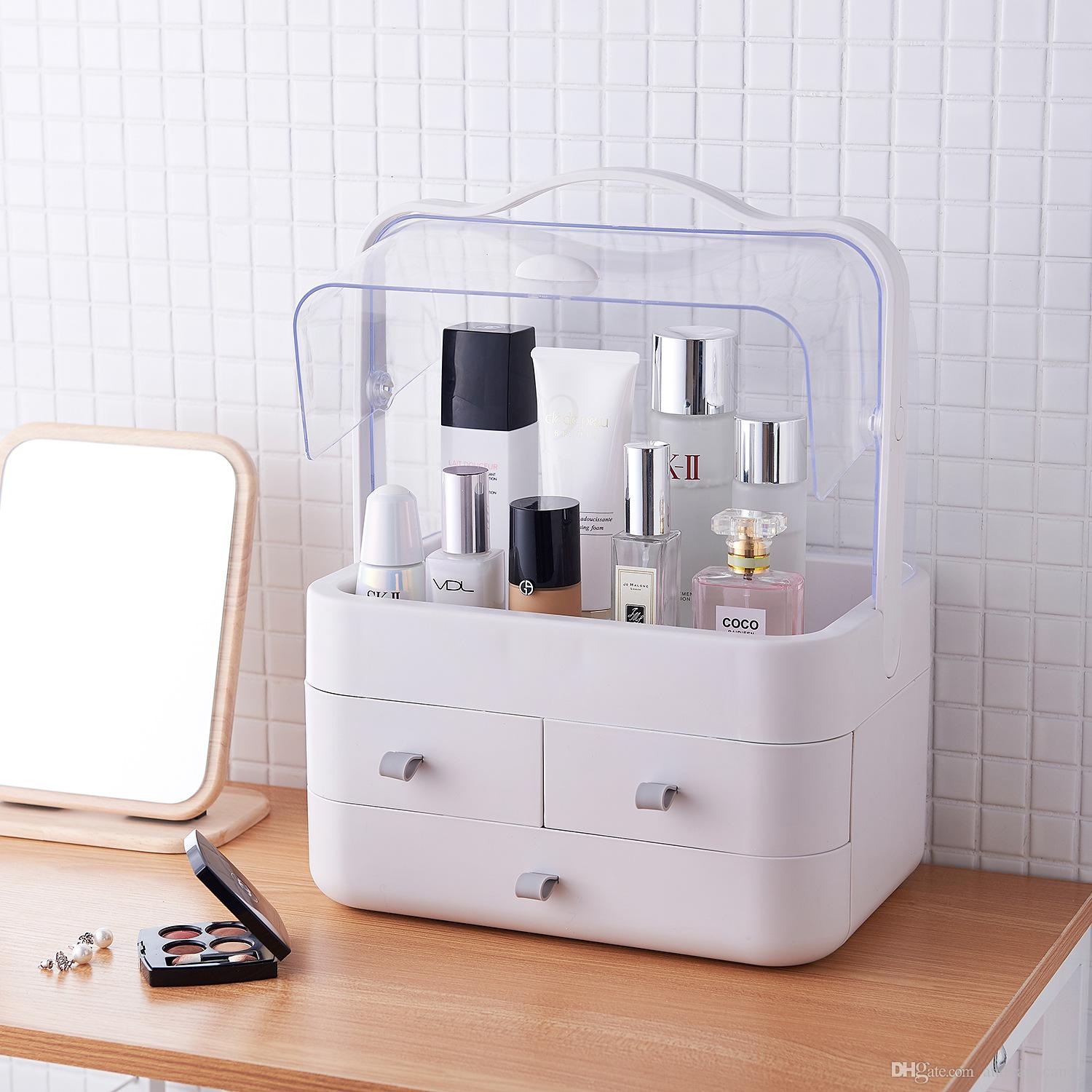 2019 Portable Makeup Storage Box With Holder Superior Dust Proof Cosmetic Organizer Water Proof For Bathroom Dresser Vanity And Countertop From within dimensions 1500 X 1500