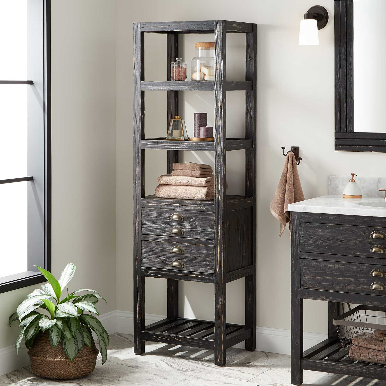 22 Benoist Bathroom Linen Storage Cabinet Antique Black with regard to dimensions 1500 X 1500