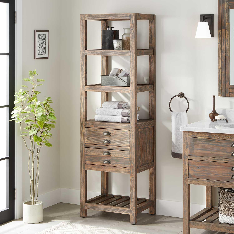 22 Benoist Bathroom Linen Storage Cabinet Gray Wash Pine inside measurements 1500 X 1500