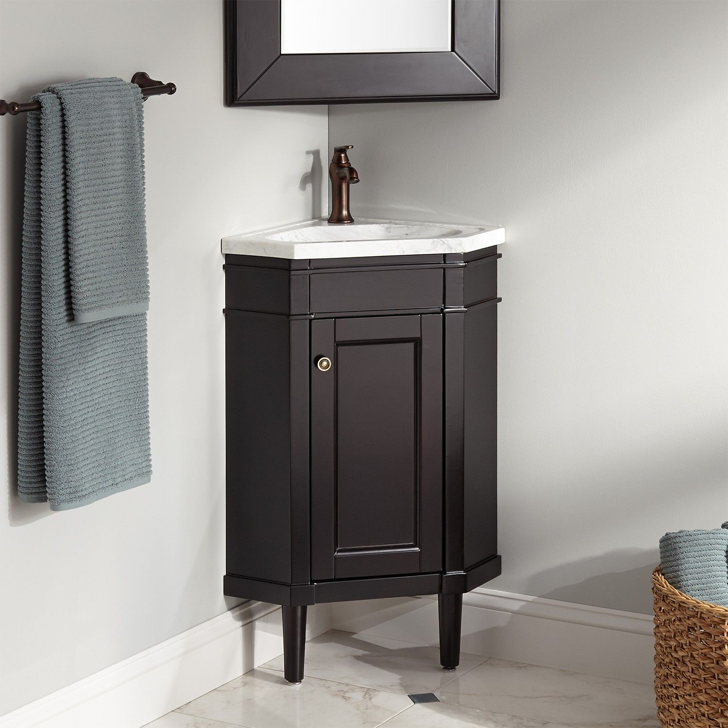 23 Winstead Espresso Corner Vanity With Carrara Marble Top regarding measurements 1500 X 1500
