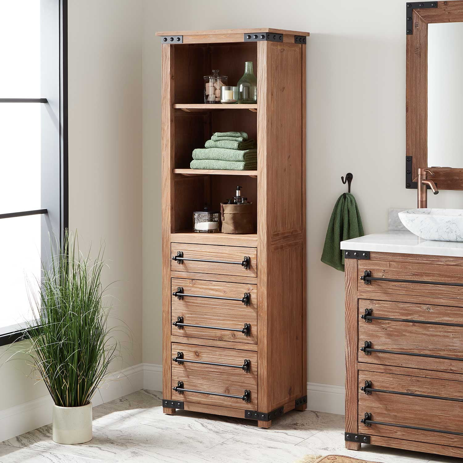 24 Bonner Bathroom Linen Storage Cabinet Pine throughout proportions 1500 X 1500