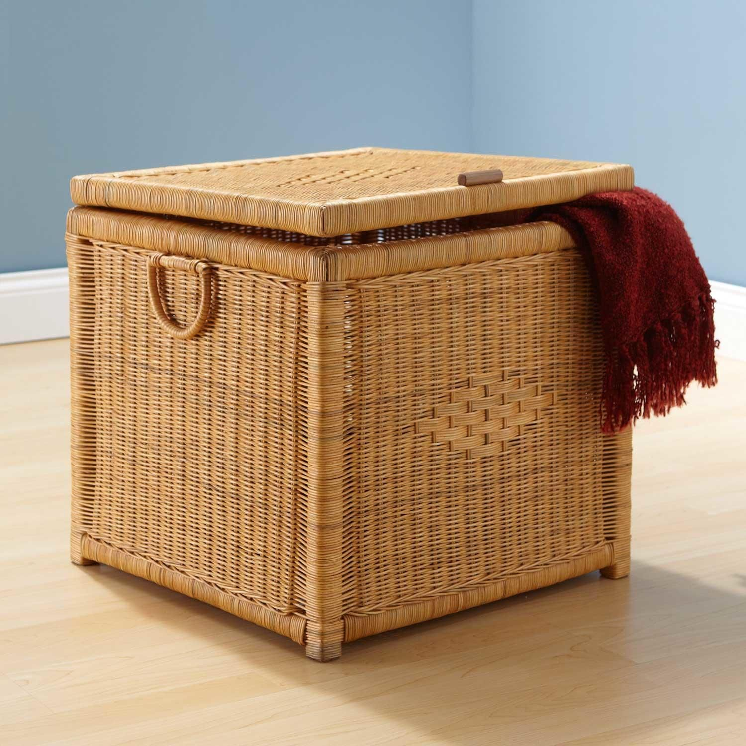 28 Diamond Design Natural Rectangular Rattan Storage Trunk pertaining to size 1500 X 1500