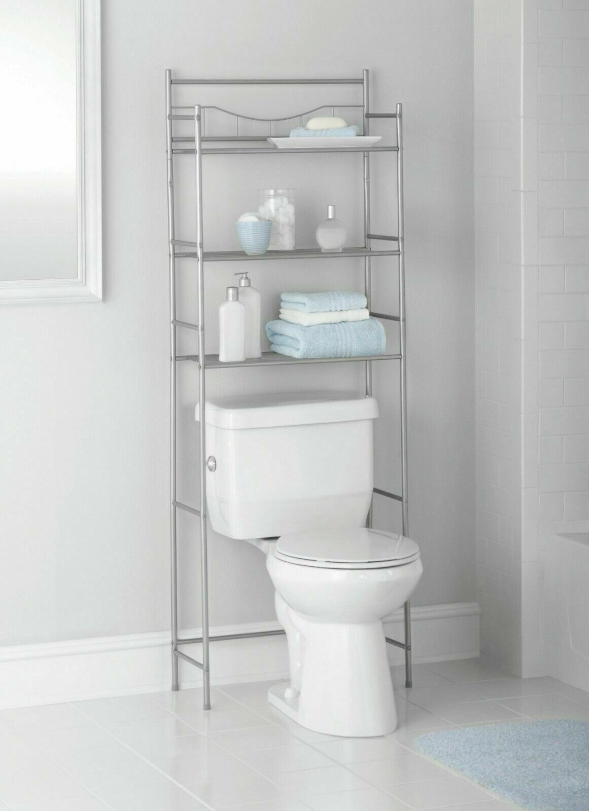 3 Shelf Over The Toilet Bathroom Space Saver Metal Towel Storage Rack Organizer within measurements 1161 X 1600