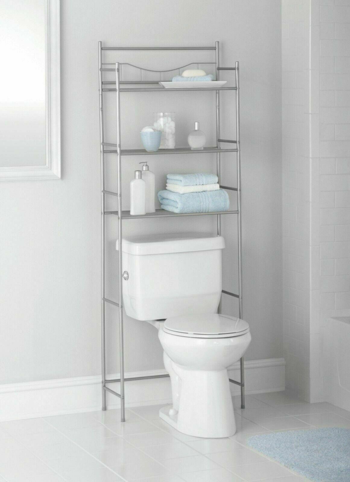 3 Shelf Over The Toilet Bathroom Space Saver Metal Towel Storage Rack Organizer within measurements 1161 X 1600