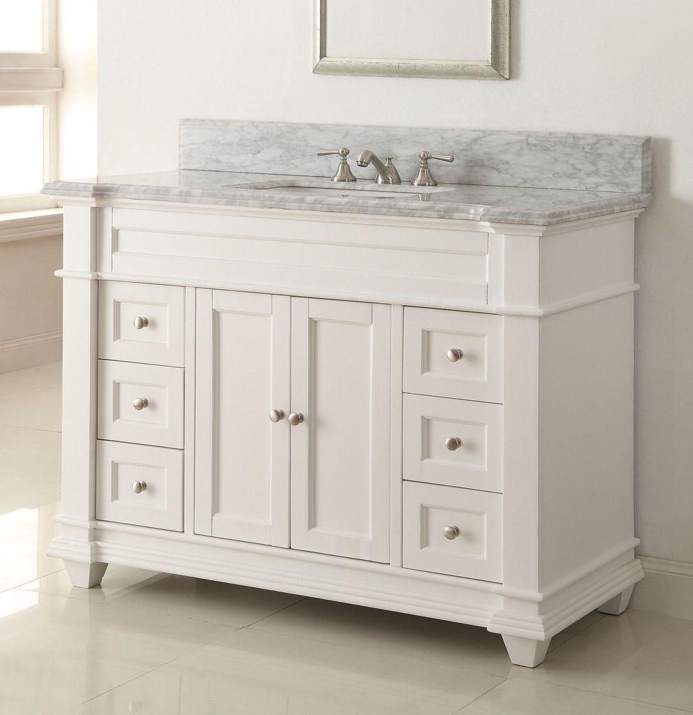 48 Italian Carrara Marble Top Kerianne Bathroom Sink Vanity Cabinet Zk 1084 Carrarawhite within sizing 992 X 1024