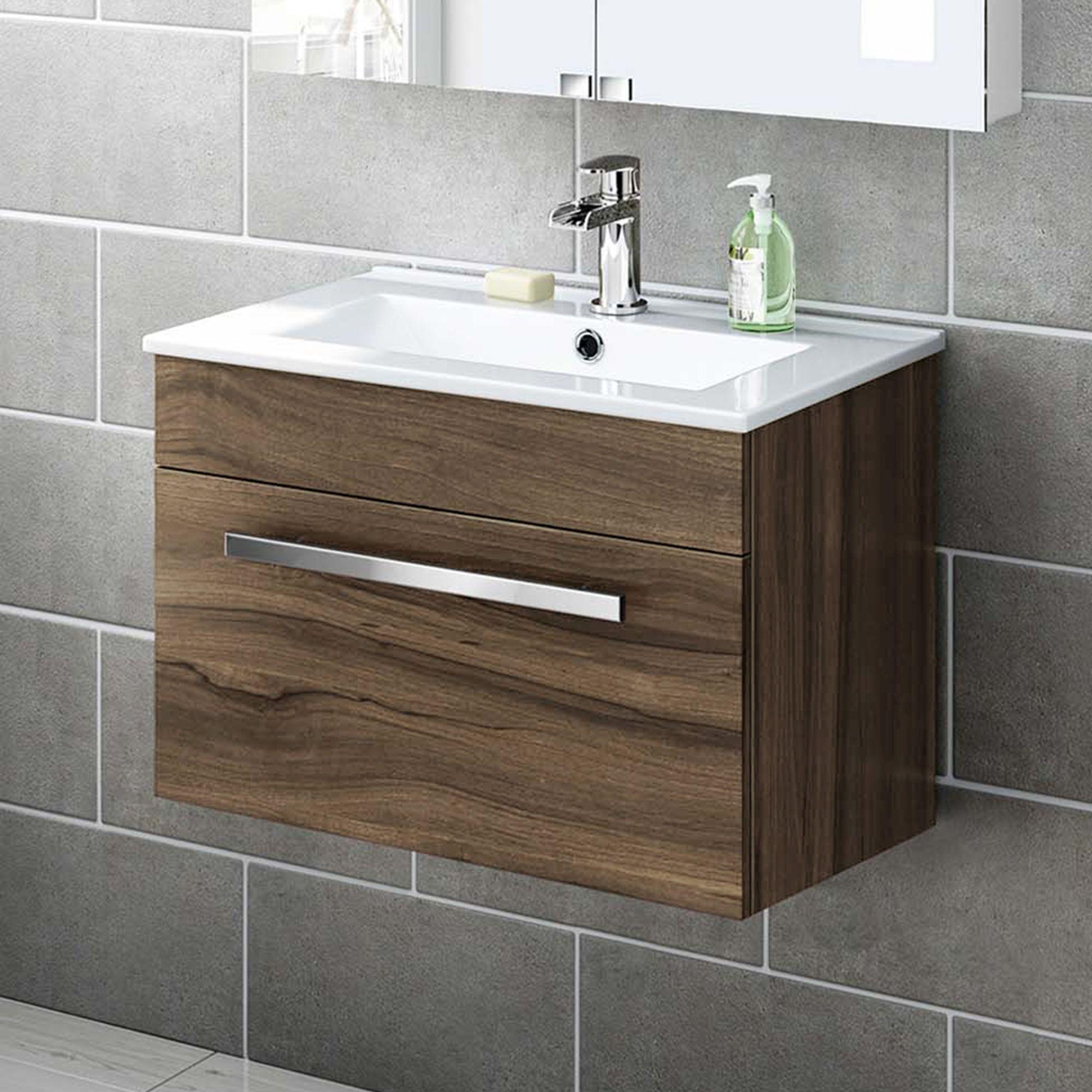 600mm Walnut Wall Hung Basin Cabinet Avon Bathempire in sizing 2000 X 2000