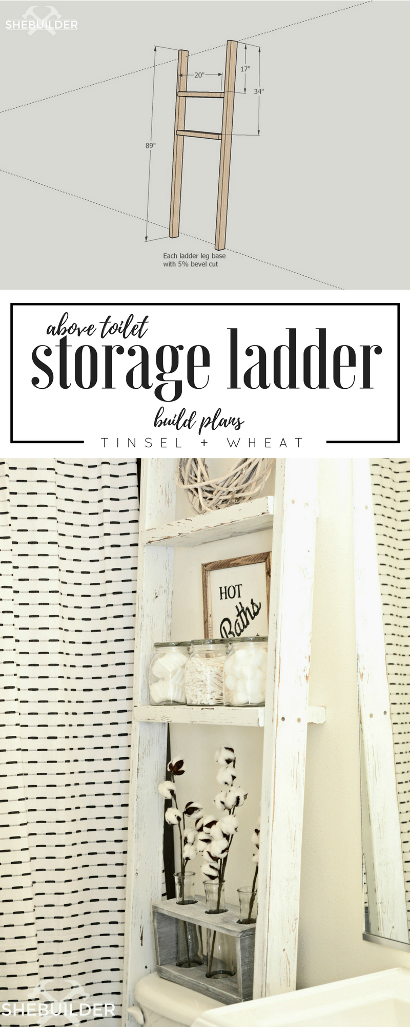 Above Toilet Storage Ladder Build Plans Tinsel Wheat with regard to sizing 800 X 2000