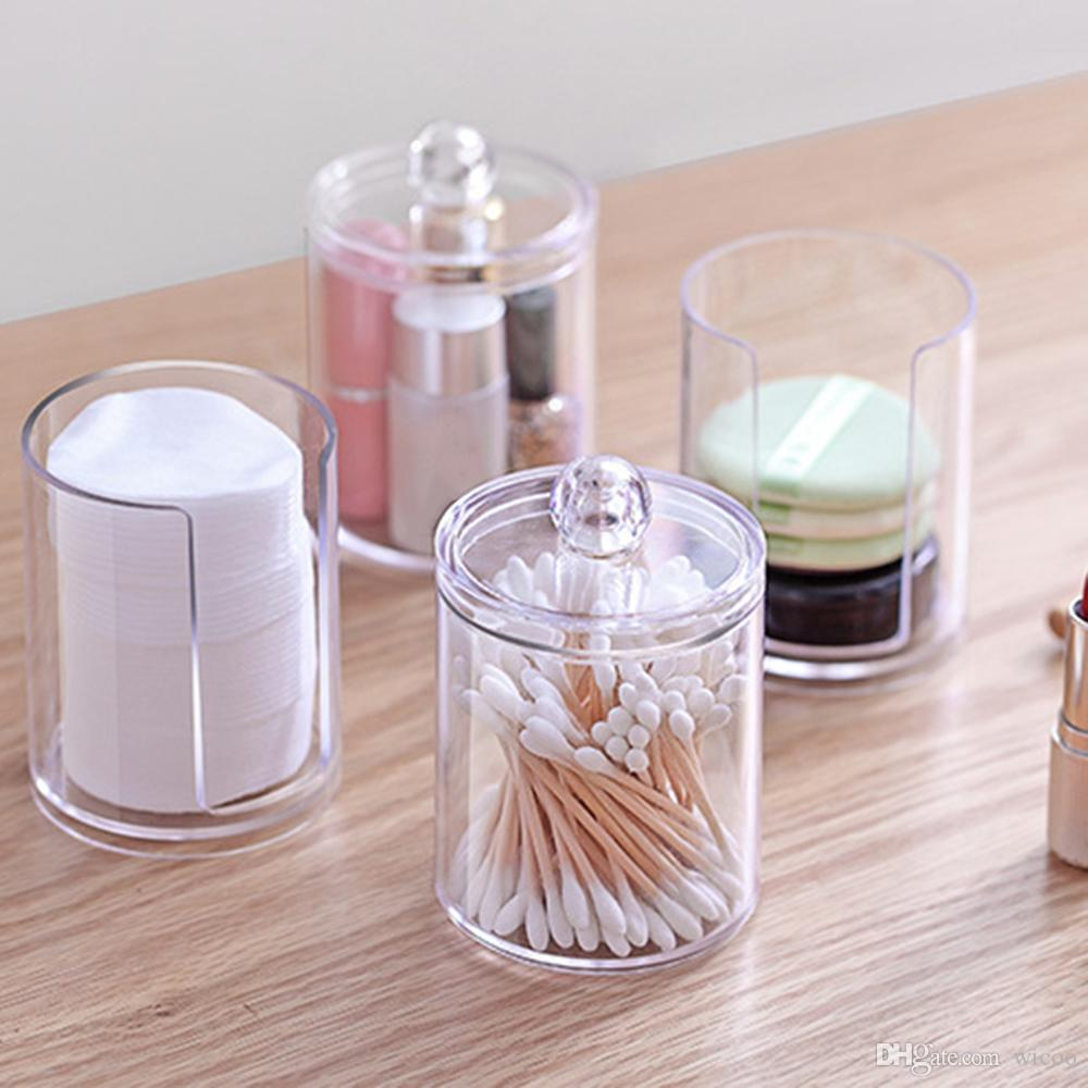 Acrylic Plastic Container Cosmetic Makeup Organizer Cotton Swabs Cotton Pad Holder Transparent Bathroom Storage Box in size 1000 X 1000