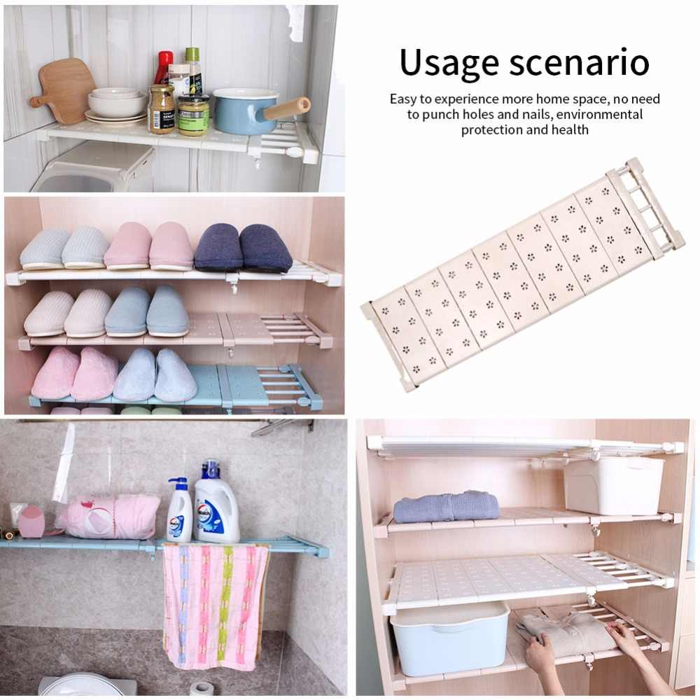 Adjustable Stretching Wardrobe Layered Separated Compartment Shelves Bathroom Kitchen Storage Rack Dormitory Punch Free throughout proportions 1000 X 1000