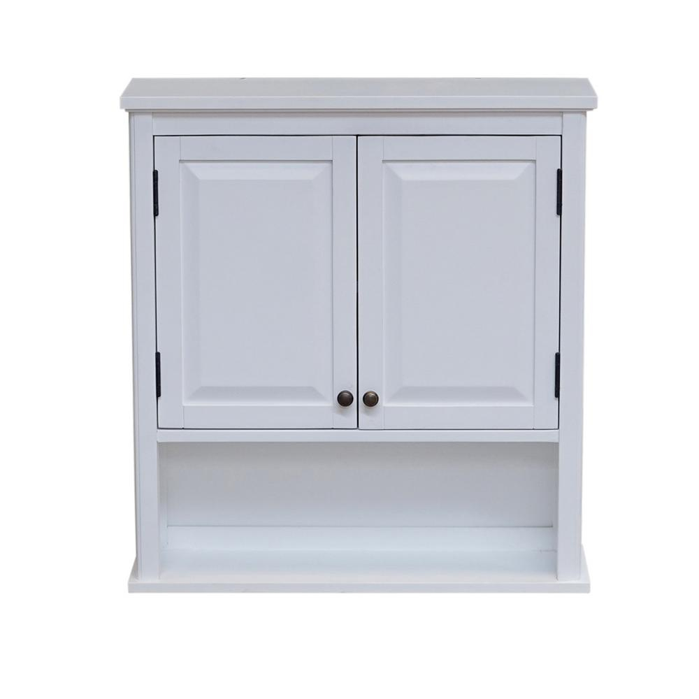 Alaterre Furniture Dorset 27 In W Wall Mounted Bath Storage Cabinet With 2 Doors And Open Shelf In White with regard to proportions 1000 X 1000