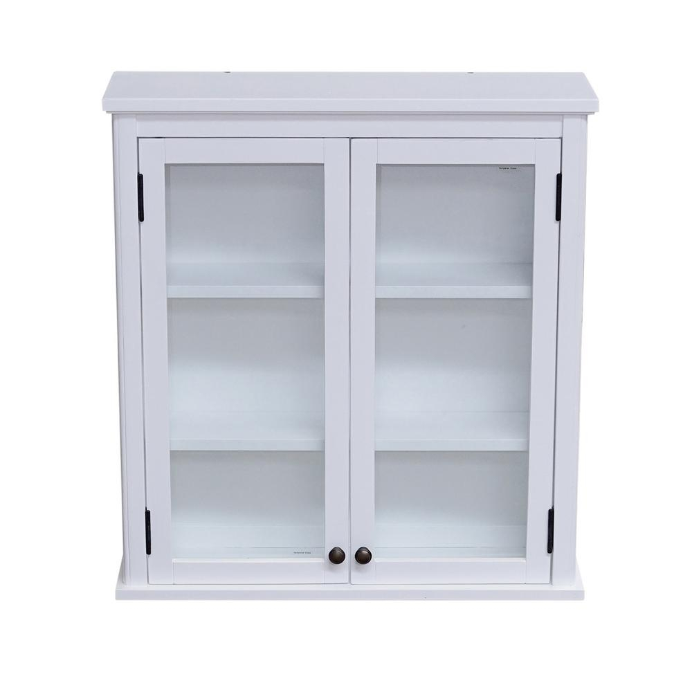Alaterre Furniture Dorset 27 In W Wall Mounted Bath Storage Cabinet With Glass Cabinet Doors In White pertaining to measurements 1000 X 1000