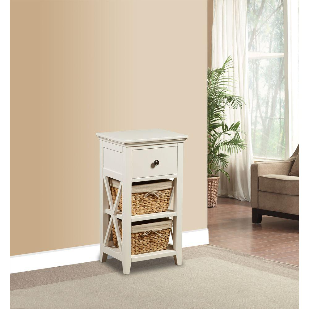 Basket Bathroom Storage Wood Cabinet In White for sizing 1000 X 1000