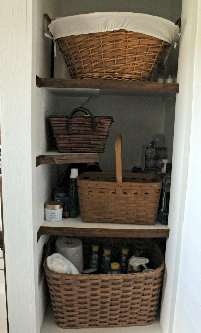 Bathroom Open Shelves Cabinet With Barn Door Hidden Storage with regard to dimensions 700 X 1158