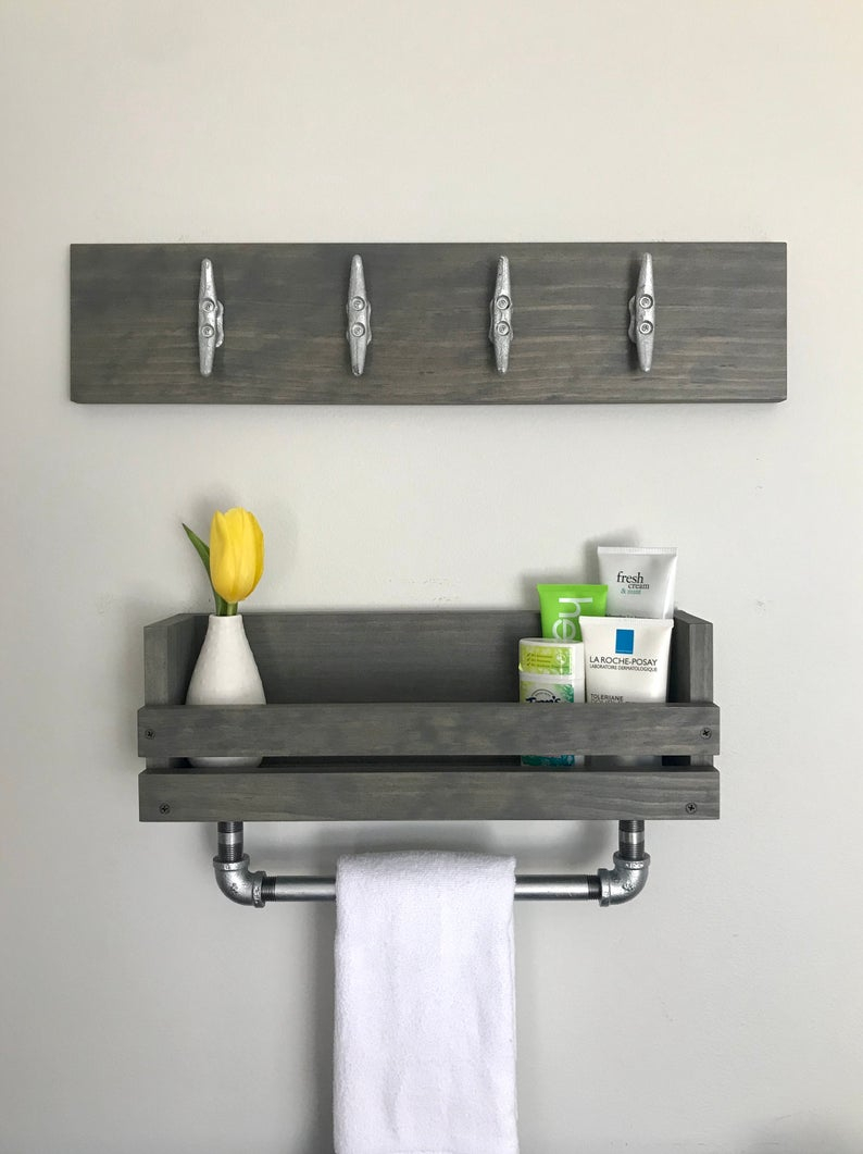 Bathroom Set Galvanized Gray Towel Bar Shelf Coastal Modern Boat Cleat Nautical Bathroom Storage Decor Towel Holder And Wall Mounted Shelf regarding proportions 794 X 1061