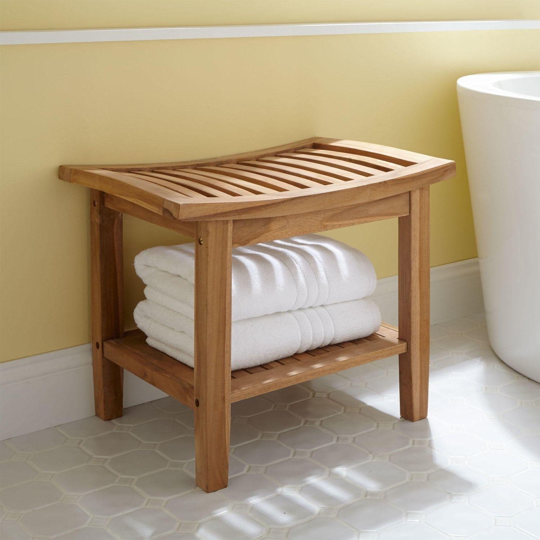 Bathroom Unpolished Teak Wood Bathroom Stool With Open for measurements 1500 X 1500