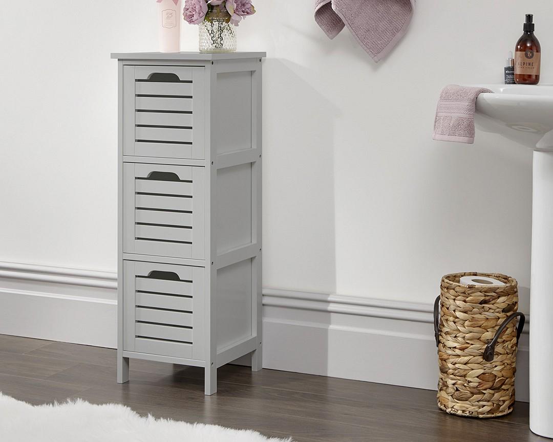 Bergen Grey Bathroom 3 Drawer Storage Unit for sizing 1080 X 864