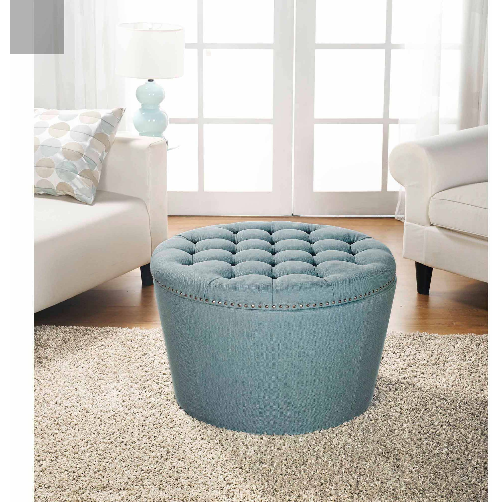 Better Homes And Gardens Round Tufted Storage Ottoman With Nailheads Multiple Finishes Walmart throughout measurements 2000 X 2000