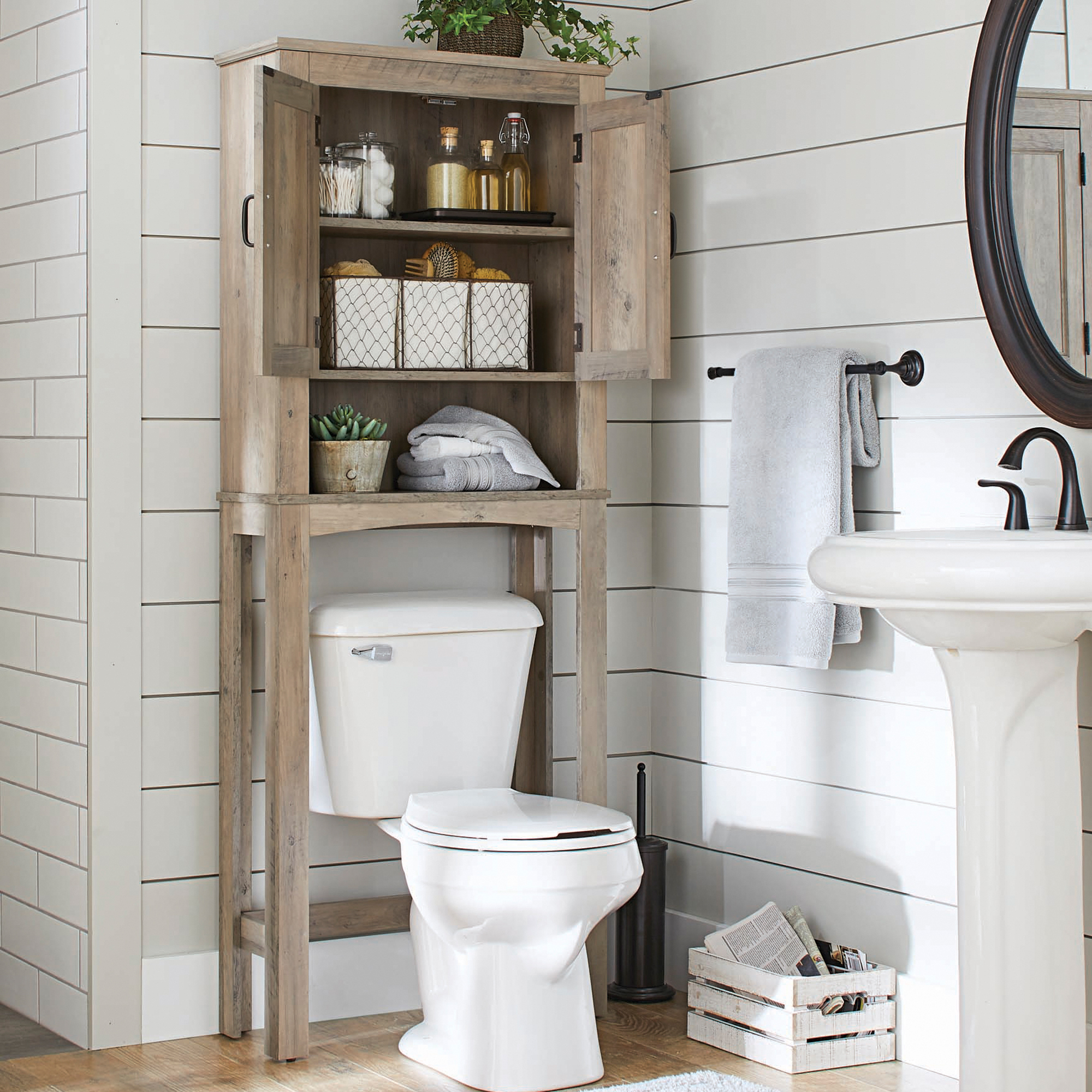 Better Homes Gardens Northampton Over The Toilet Bathroom Space Saver Rustic Gray Finish for dimensions 2000 X 2000
