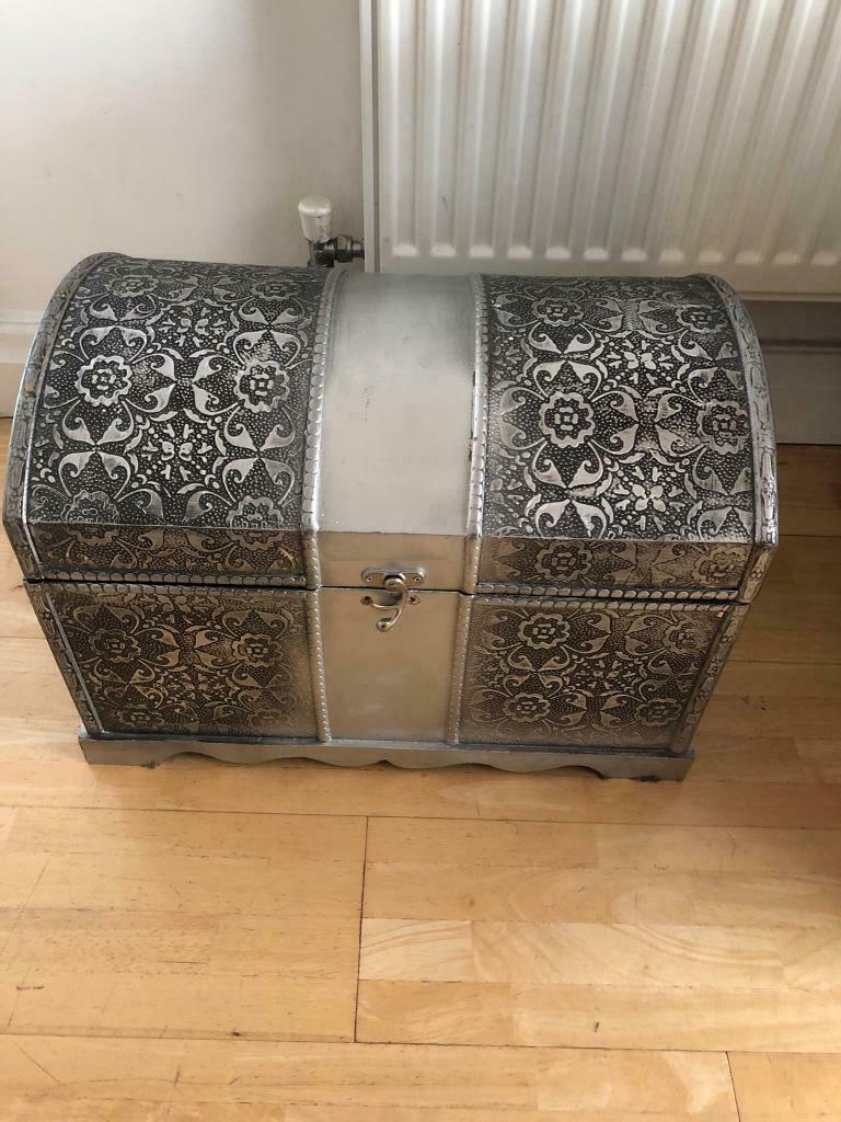 Black Silver Ornate Shab Chic Chest Trunk Storage Box In Oakwood West Yorkshire Gumtree intended for dimensions 768 X 1024