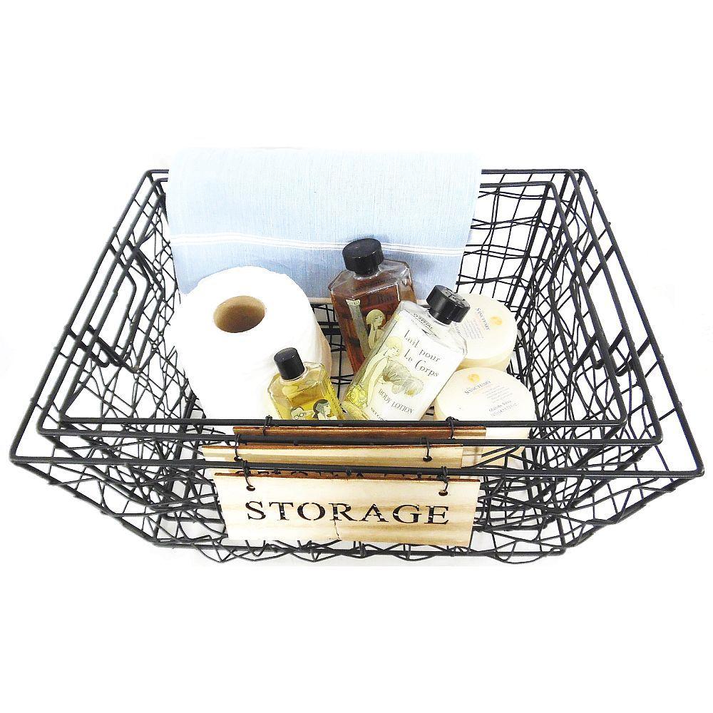 Black Woven Metal Wire 3 Nesting Bathroom Storage Baskets with size 1000 X 1000