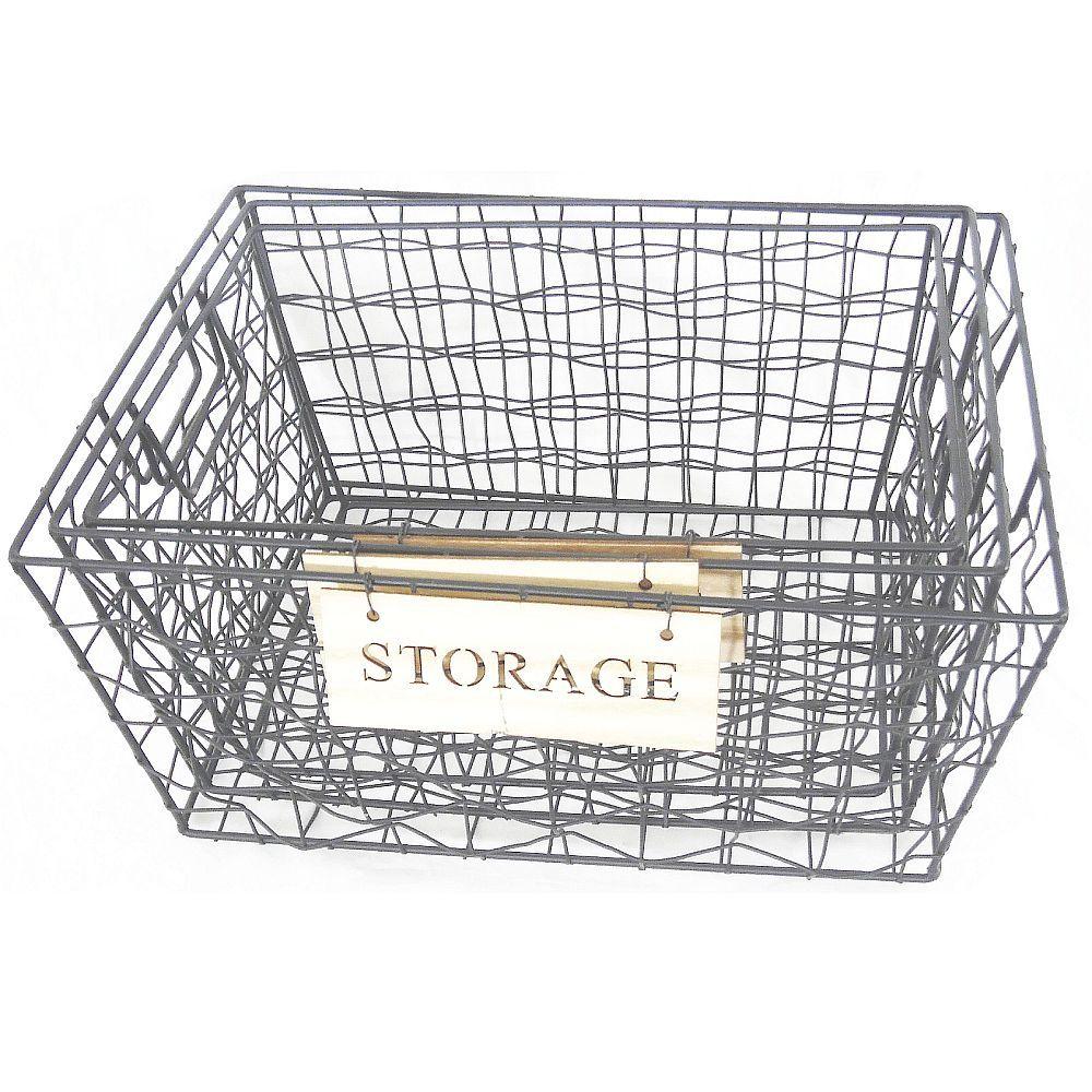 Black Woven Metal Wire 3 Nesting Shelf Storage Baskets with regard to proportions 1000 X 1000