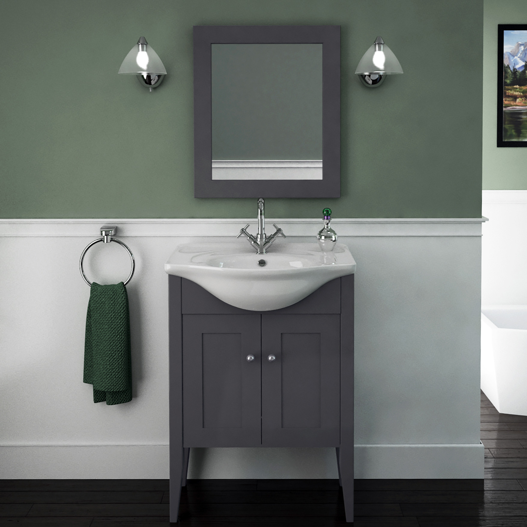 Carolla Vanity Unit And Basin Charcoal Grey intended for size 1755 X 1755