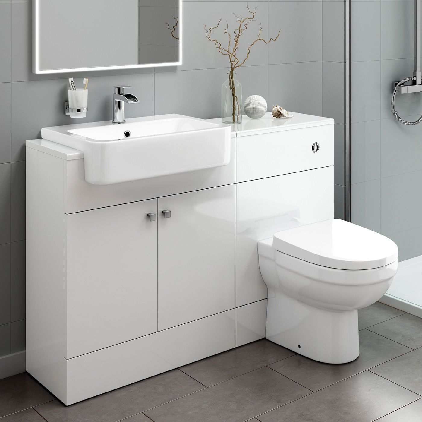 Combined Vanity Storage Unit With Basin And Back To Wall throughout size 1400 X 1400