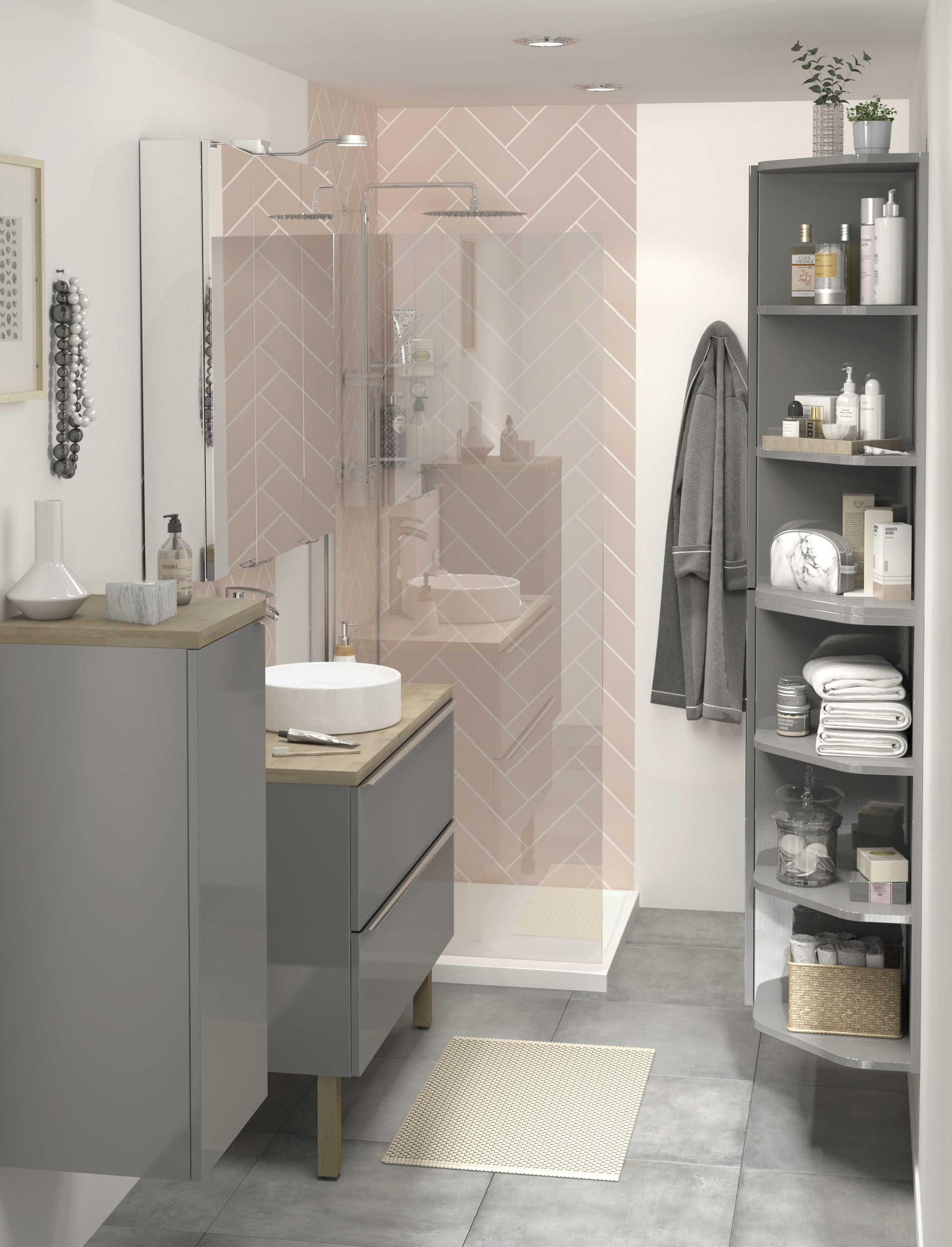 Cooke Lewis Imandra Gloss Grey Vanity Basin Unit W1000mm with regard to proportions 2289 X 3000