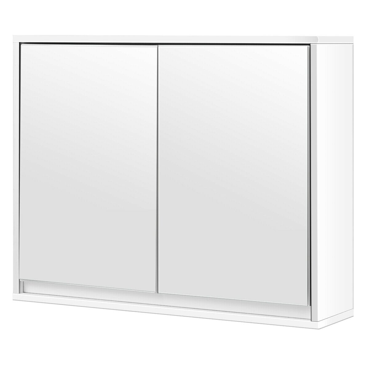 Costway Costway Wall Mounted Bathroom Storage Cabinet Double Mirror Door Organizer Shelf White Rakuten inside proportions 1200 X 1200