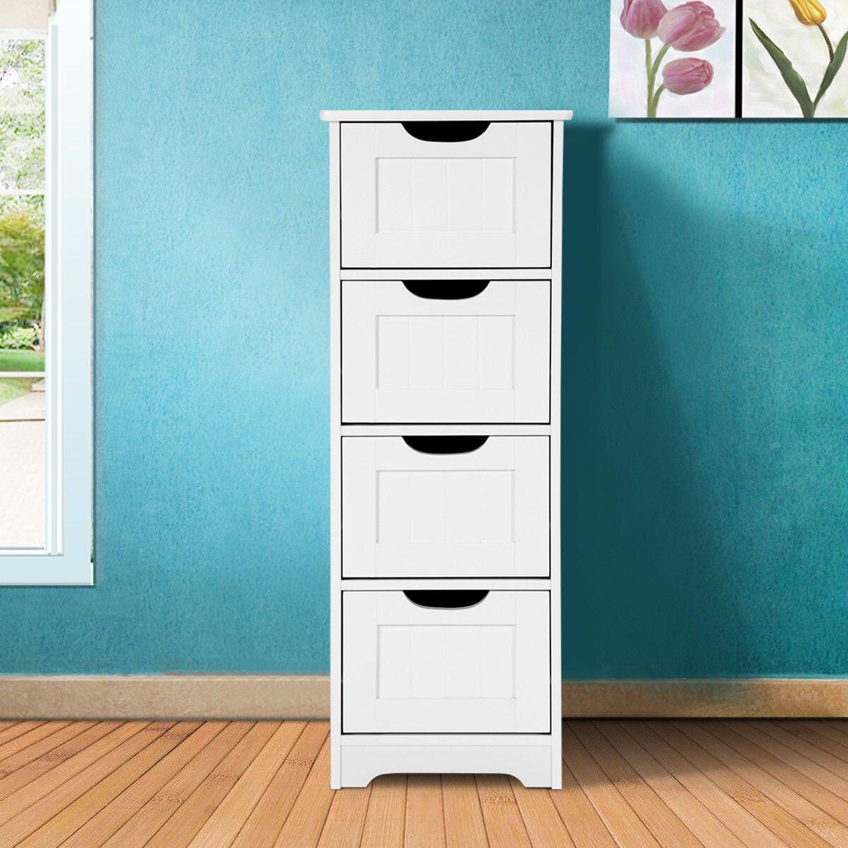 Costway Costway White Floor Storage Cabinet Bathroom Organizer Free Standing 234 Drawers Rakuten inside size 1200 X 1200