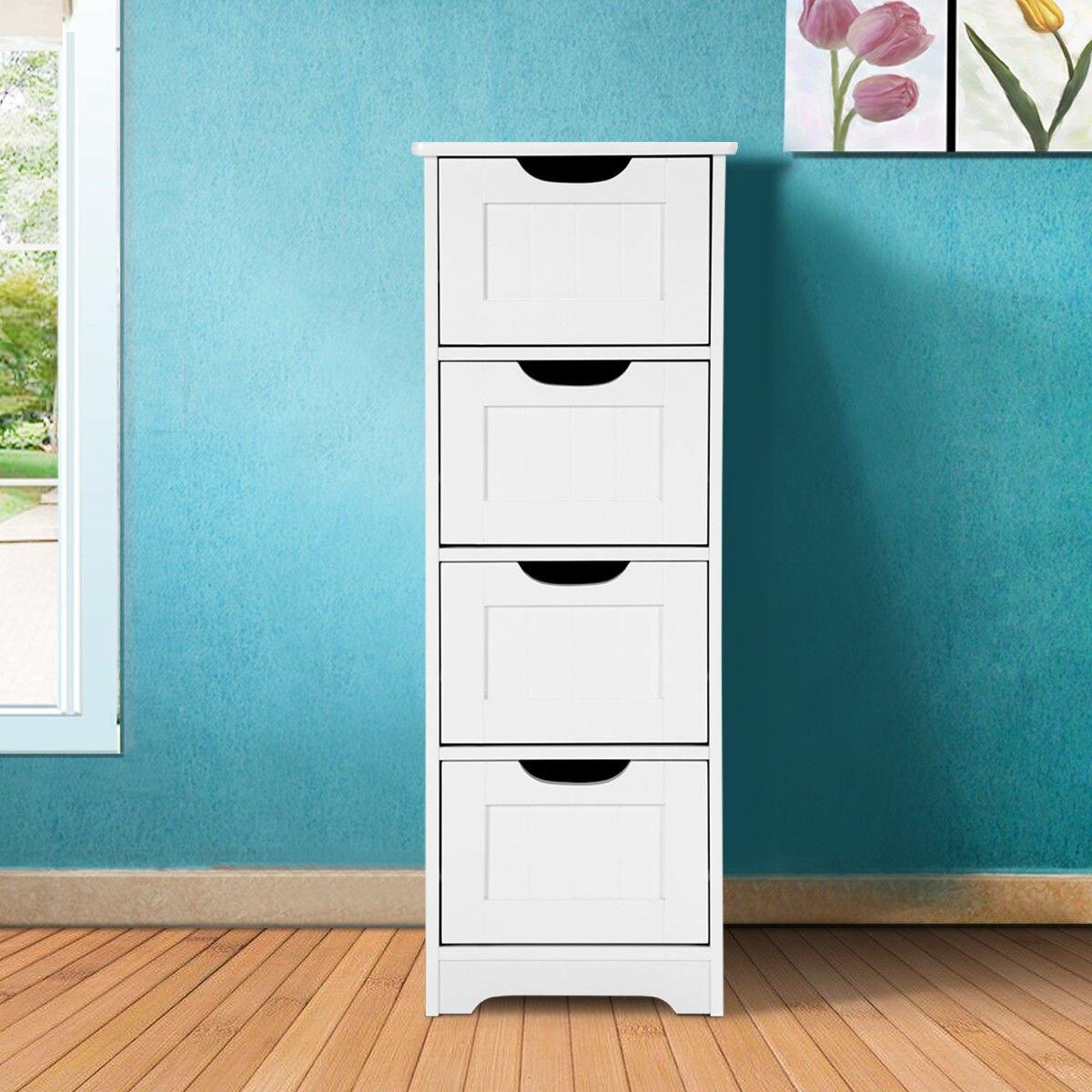 Costway Costway White Floor Storage Cabinet Bathroom Organizer Free Standing 234 Drawers Rakuten inside size 1200 X 1200