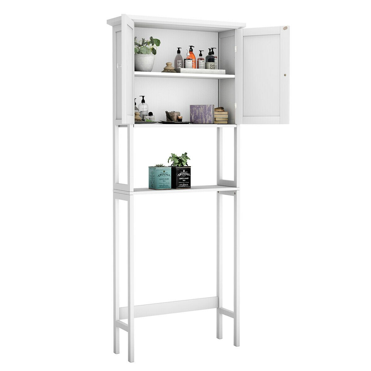 Costway Toilet Over The Toilet Bathroom Storage Space Saver With Shelf Collect Cabinet White Rakuten throughout sizing 1200 X 1200