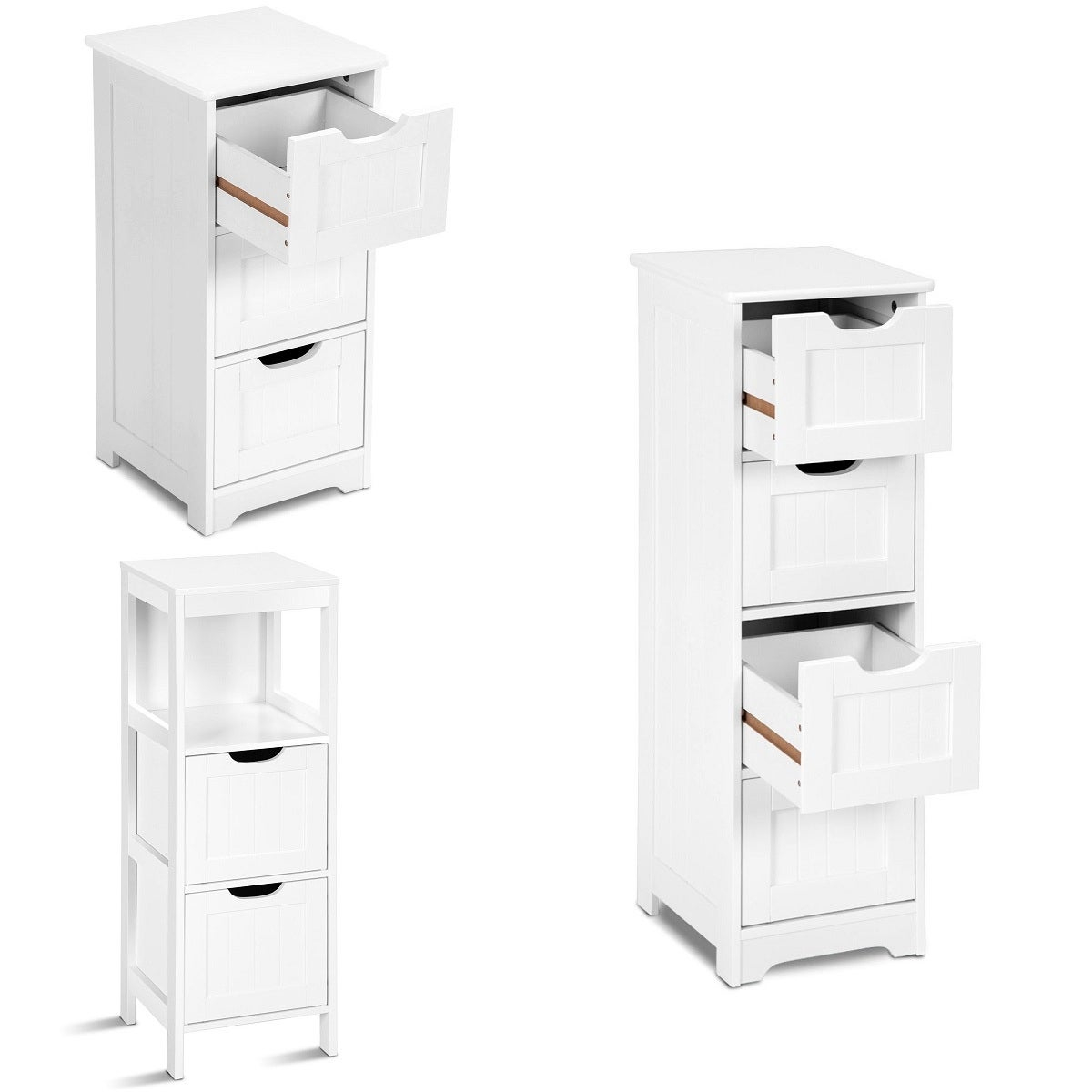 Costway White Floor Storage Cabinet Bathroom Organizer Free Standing 234 Drawers inside measurements 1200 X 1200