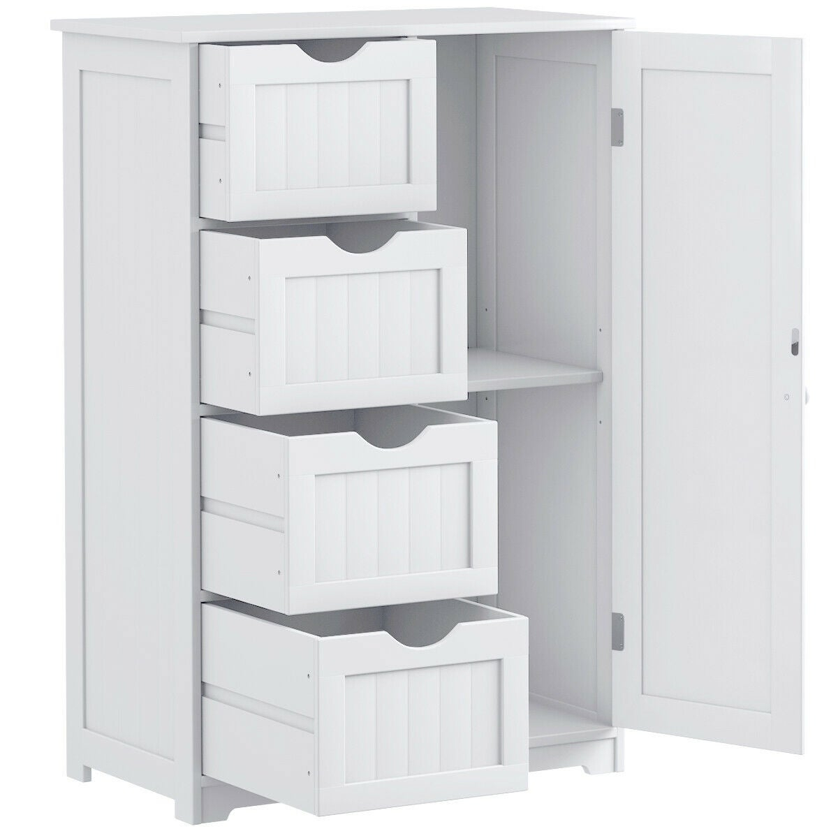 Costway Wooden 4 Drawer Bathroom Cabinet Storage Cupboard 2 Shelves Free Standing White throughout measurements 1200 X 1200