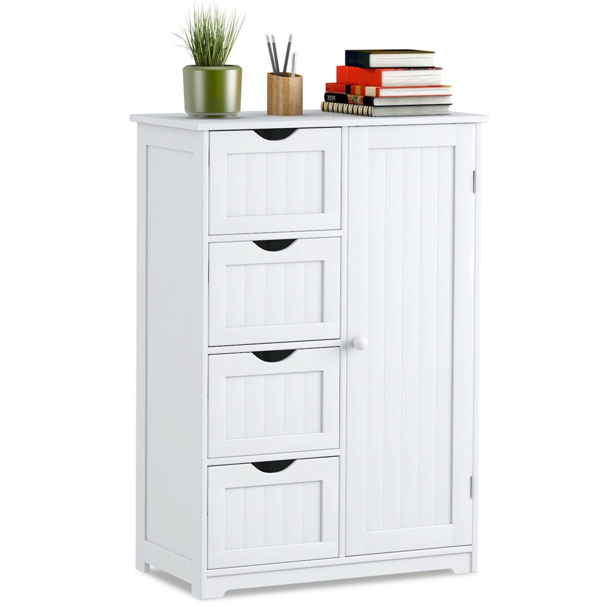 Costway Wooden 4 Drawer Bathroom Cabinet Storage Cupboard 2 Shelves Free Standing White within sizing 1200 X 1200
