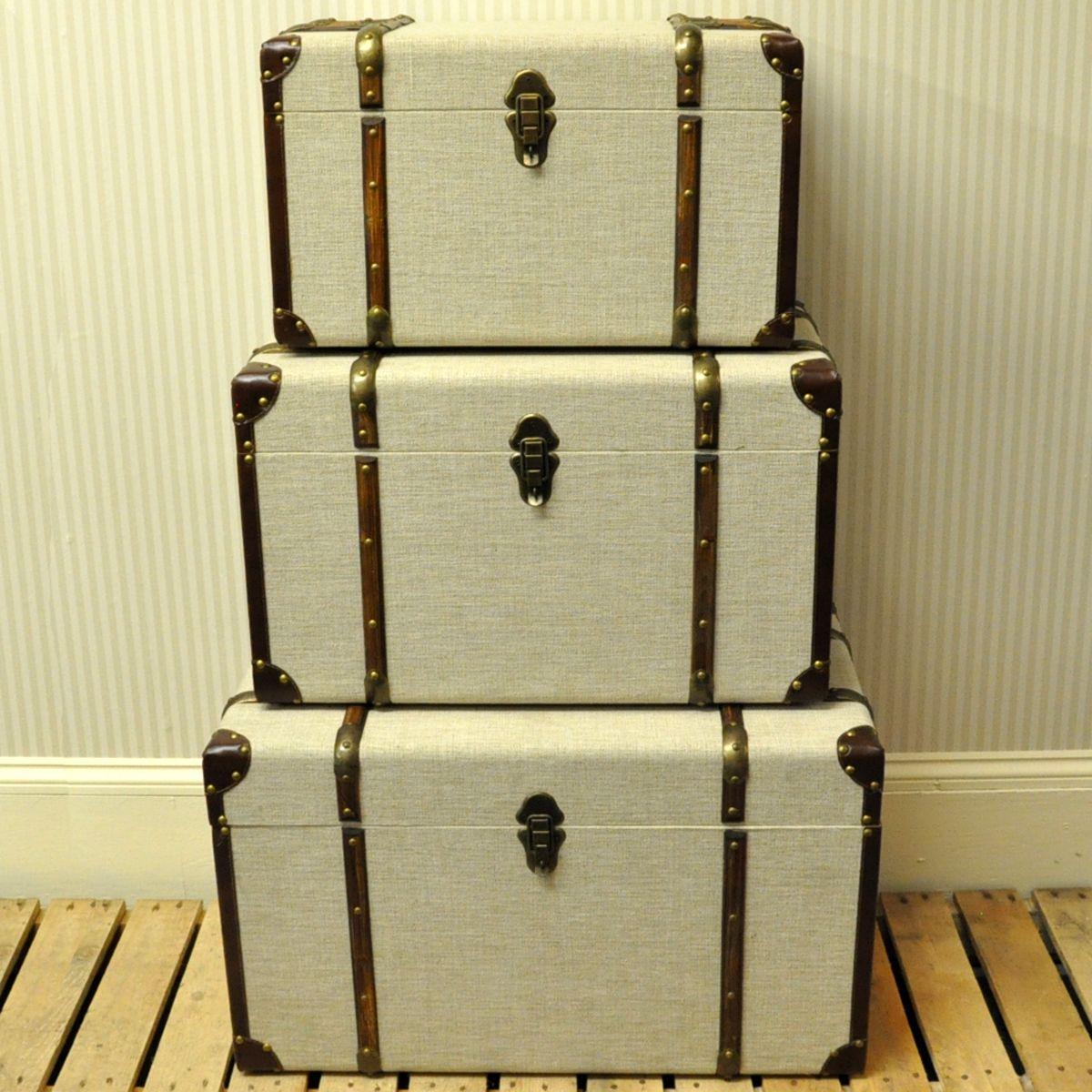 Cream Linen Fabric Set 3 Storage Chests Storage Storage regarding proportions 1200 X 1200