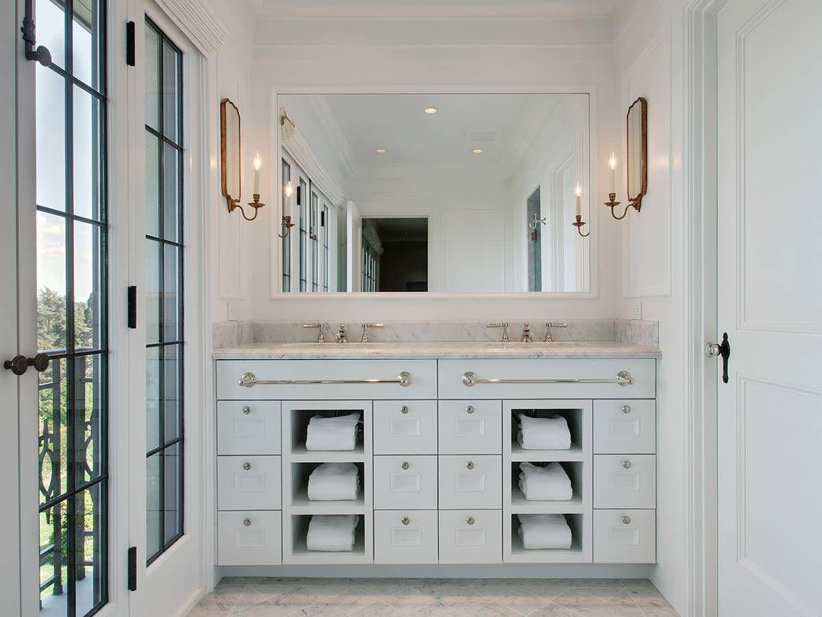 Custom Dual Sink Vanity Towel Cubbies Stuart Silk Architects inside proportions 1200 X 900