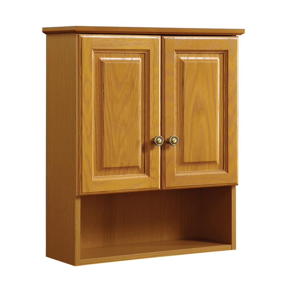 Design House Claremont 21 In W X 26 In H X 8 In D Bathroom Storage Wall Cabinet In Honey Oak with regard to proportions 1000 X 1000
