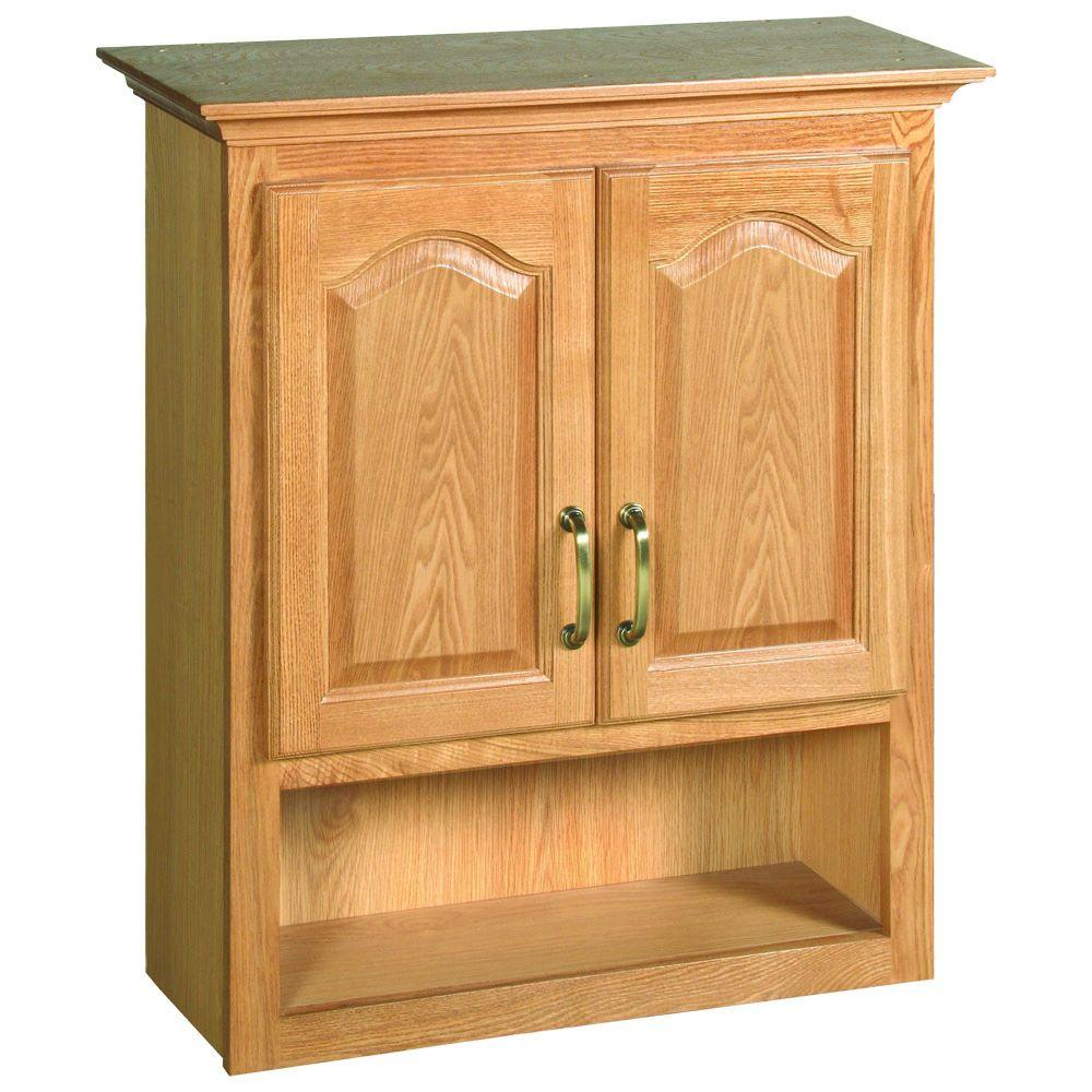 Design House Richland 26 34 In W X 30 In H X 10 38 In D Unassembled Bathroom Storage Wall Cabinet With Shelf In Nutmeg Oak within size 1000 X 1000