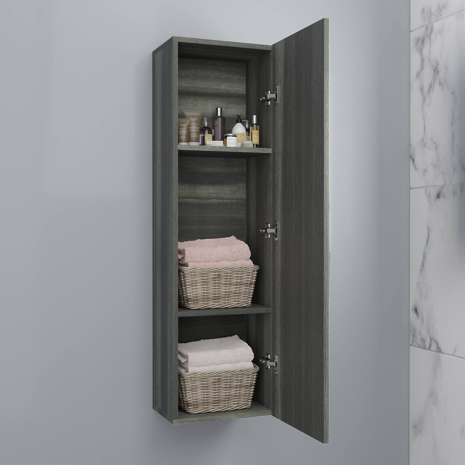 Details About 1200mm Tall Bathroom Wall Hung Storage Cabinet Cupboard Modern Soft Close Grey in dimensions 1500 X 1500