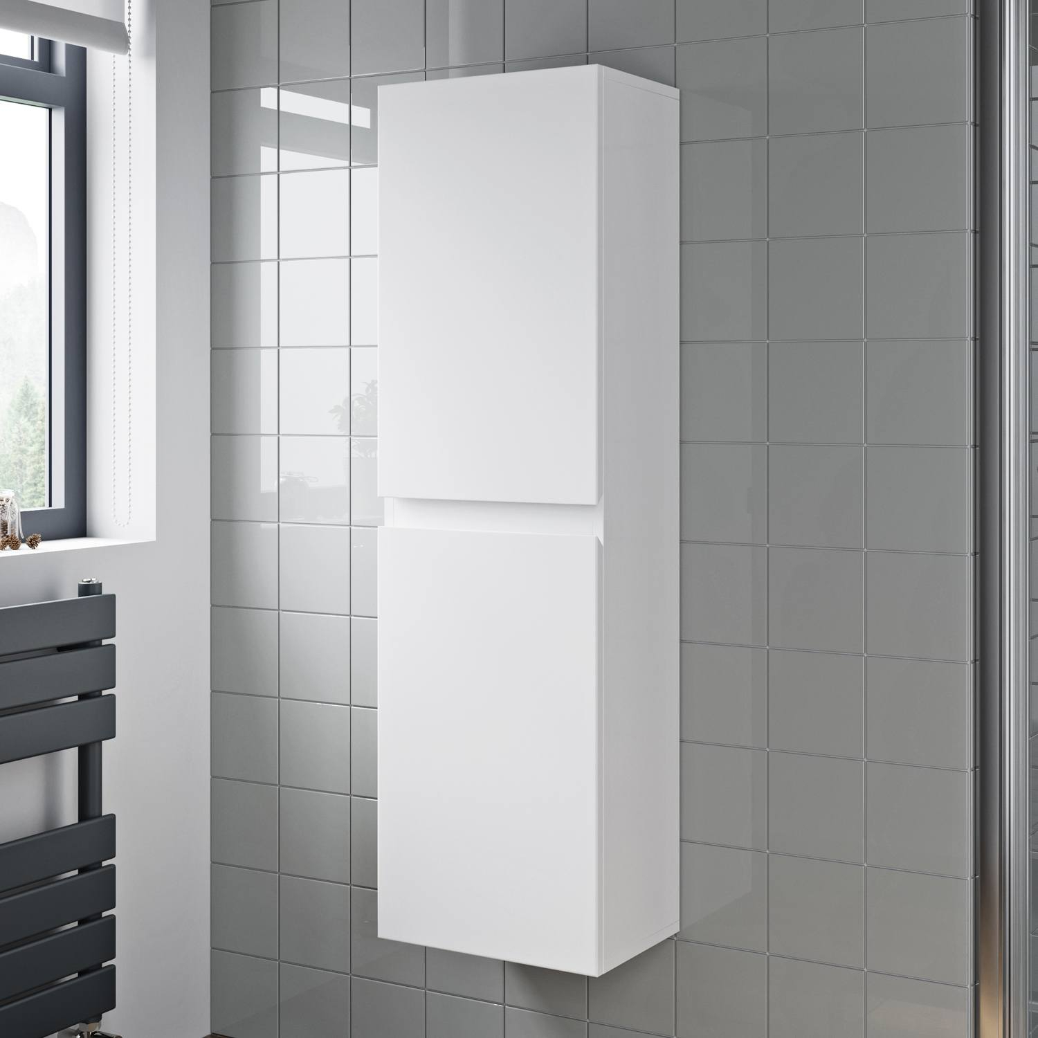 Details About 1200mm Tall Bathroom Wall Hung Storage Cabinet Cupboard Soft Close White Gloss pertaining to size 1500 X 1500