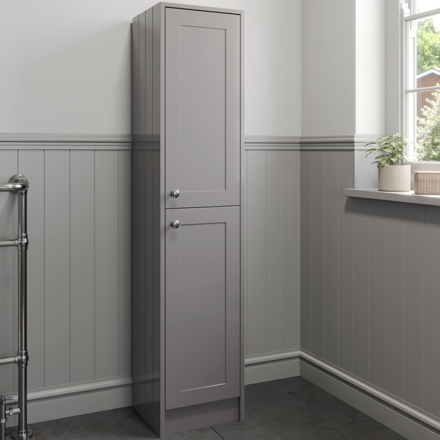 Details About 1600mm Tall Bathroom Storage Cabinet Cupboard Floorstanding Grey Traditional within proportions 1500 X 1500