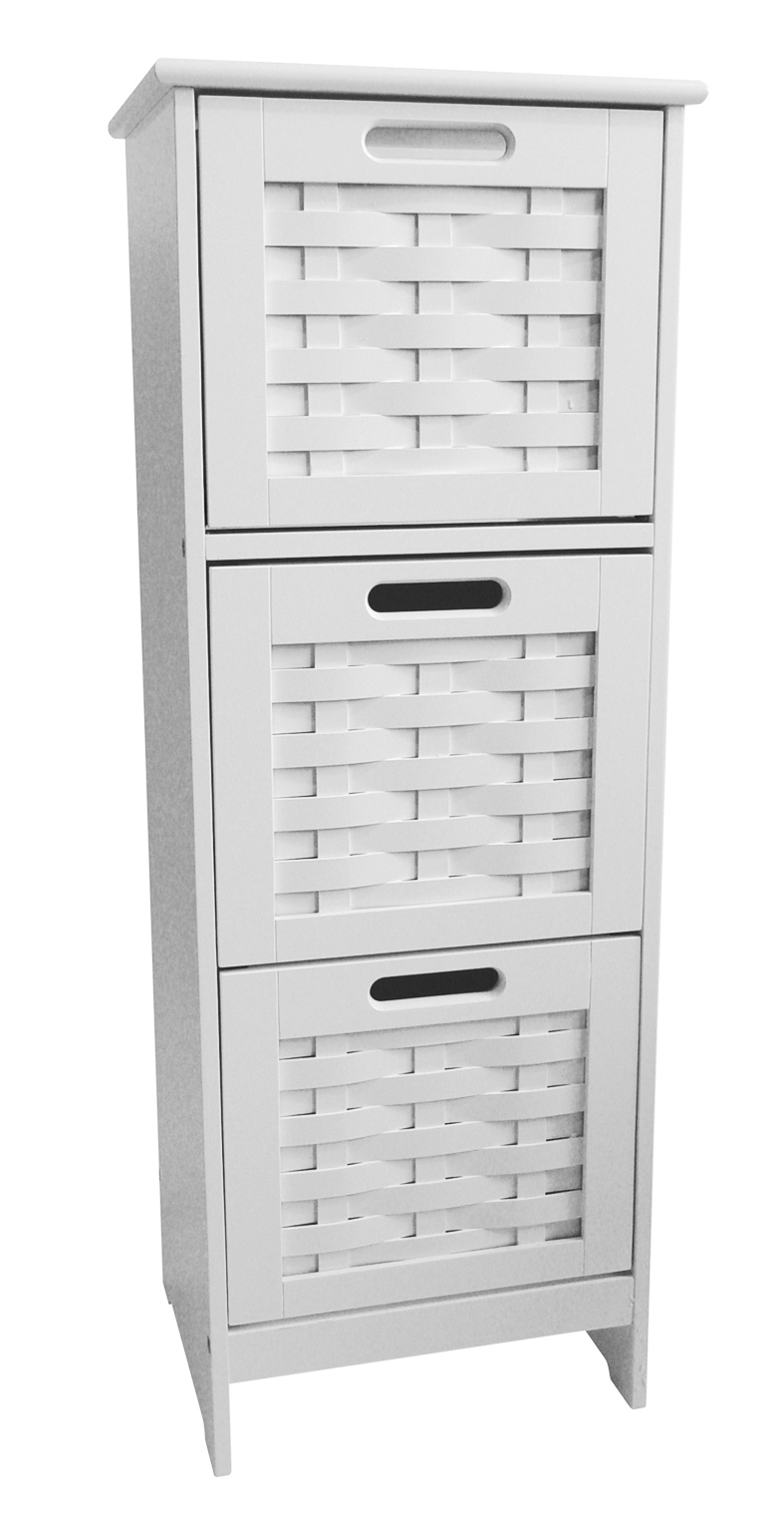 Details About 3 Drawer Slim Weave Storage Unit Bathroom Storage Cabinet White within proportions 787 X 1527