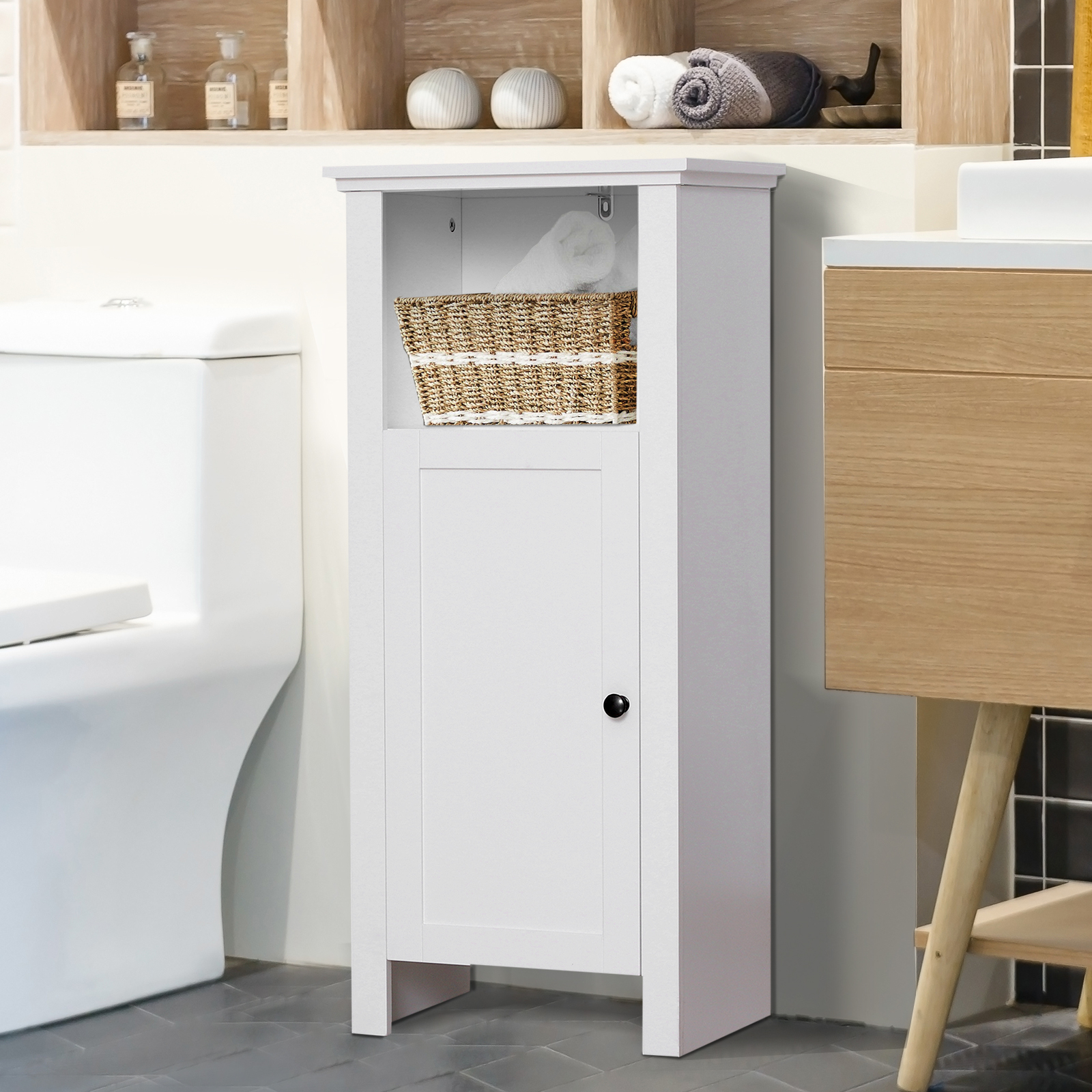 Details About 36 Compact Freestanding Bathroom Storage Cabinet Organizer White in size 1600 X 1600