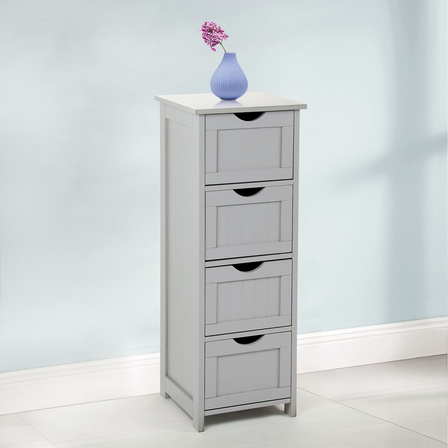 Details About 4 Drawer Slim Chest Tall Bathroom Storage Cabinet Bedroom Hallway Grey with proportions 1500 X 1500