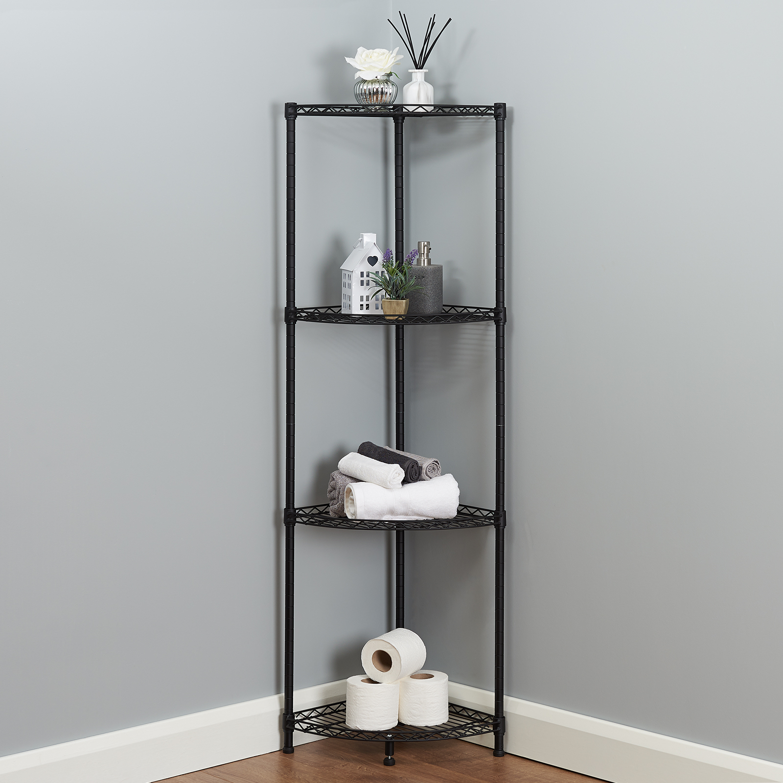Details About 4 Tier Corner Bathroom Storage Shelves Metal Black Shelving Unit Display Rack with proportions 1600 X 1600