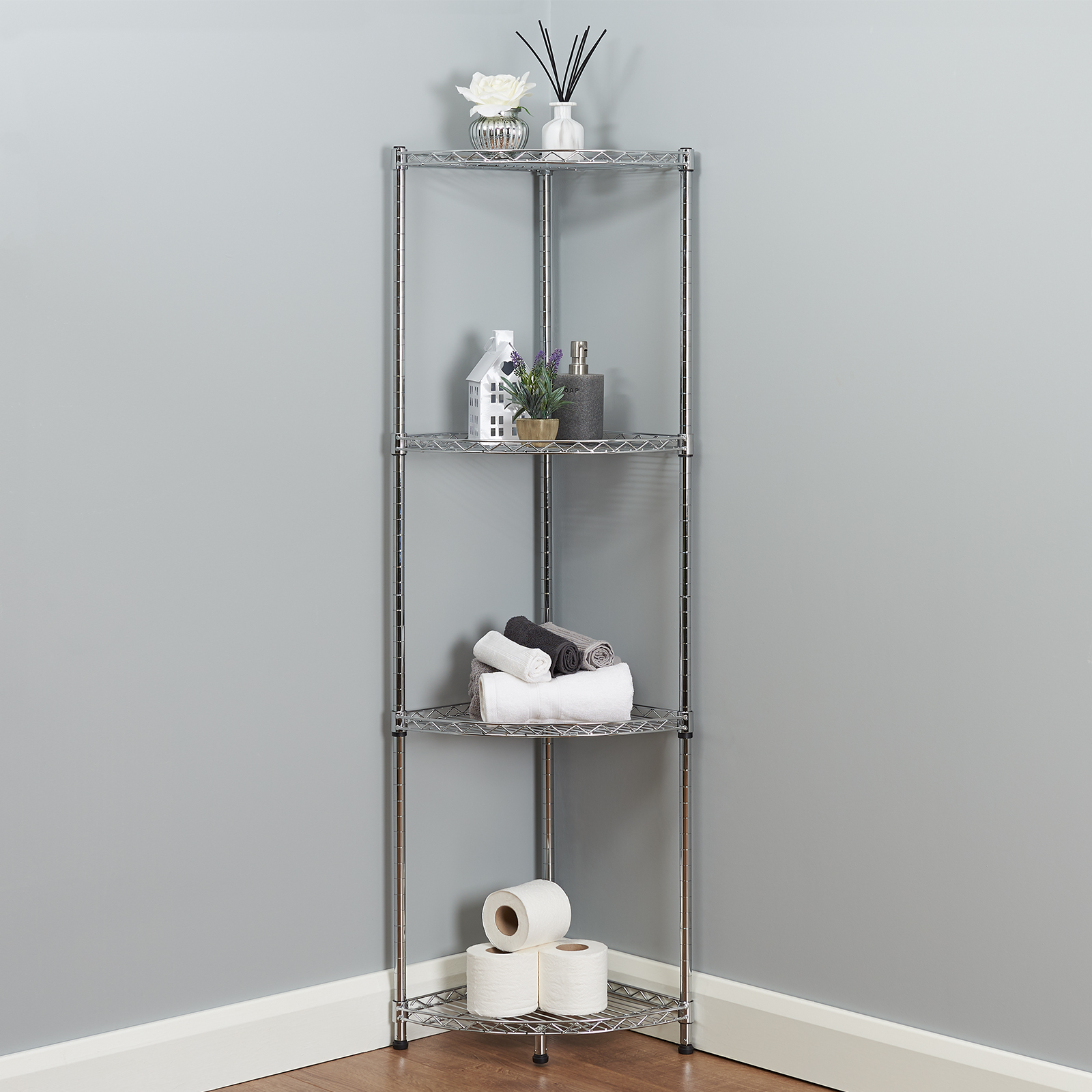 Details About 4 Tier Corner Bathroom Storage Shelves Metal Chrome Shelving Unit Display Rack for sizing 1600 X 1600