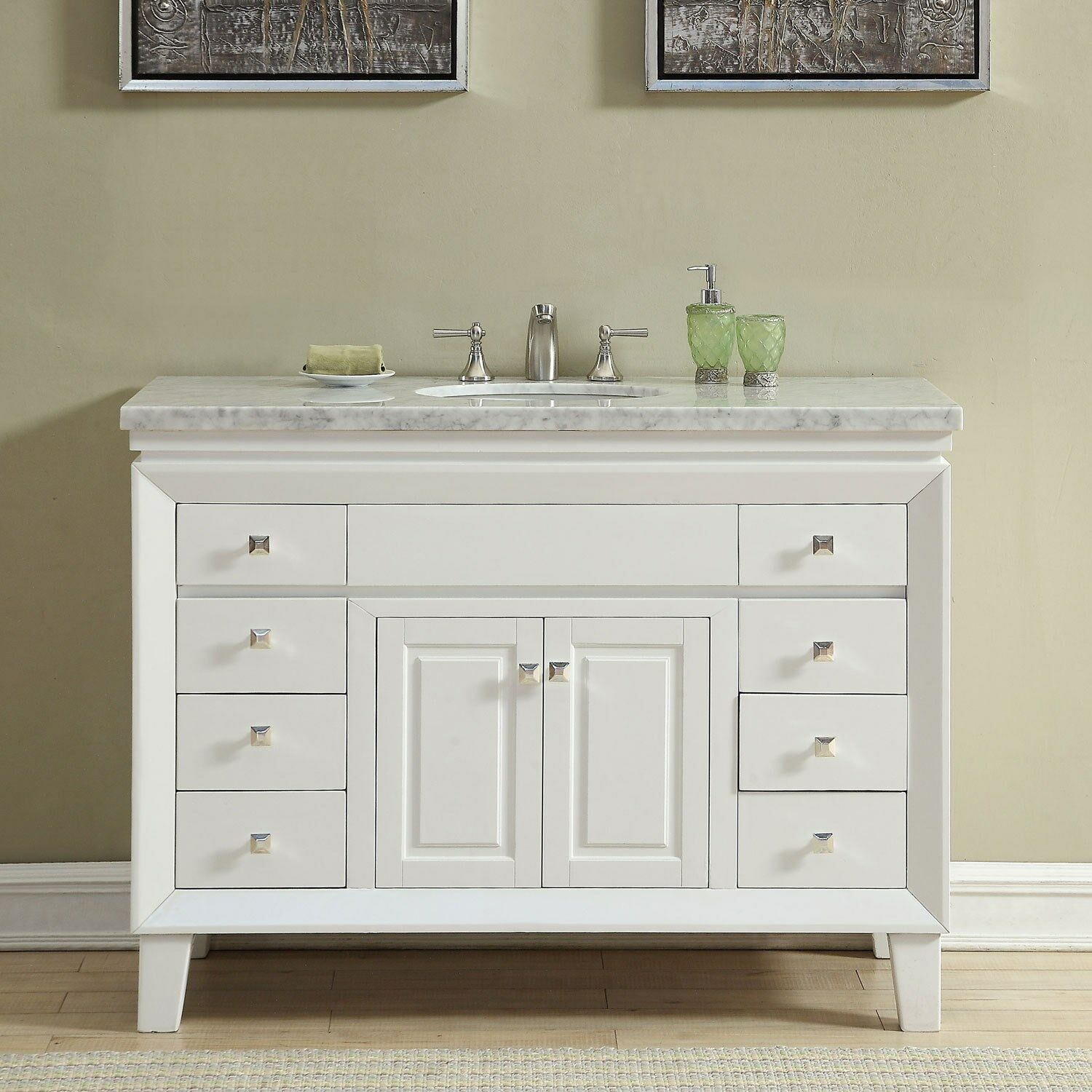 Details About 48 Inch Off White Carrara Marble Top Bathroom Vanity Single Sink Cabinet 0318w regarding size 1500 X 1500