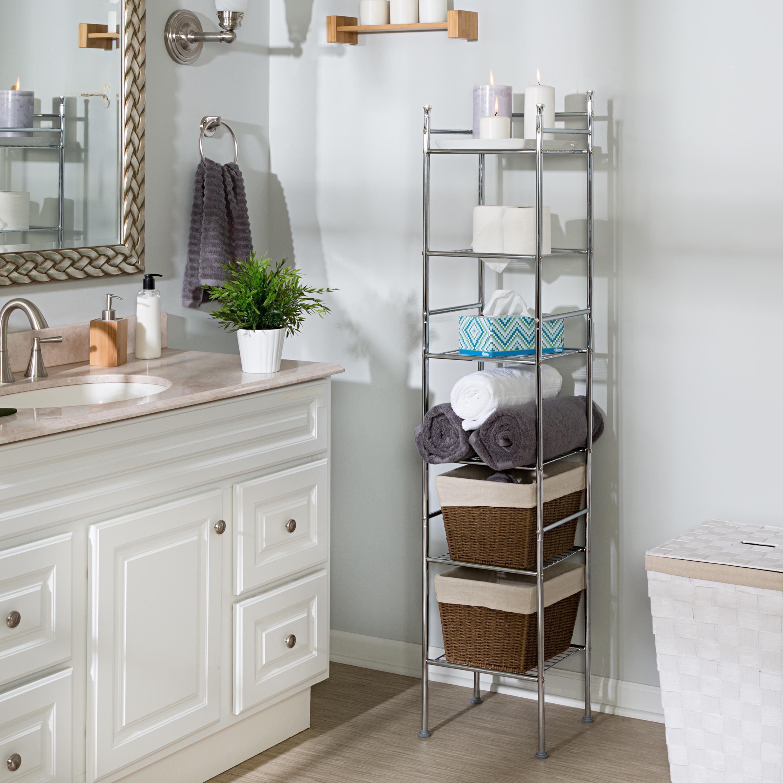 Details About 6 Tier Bathroom Storage Shelf Rack Rust Resistant Metal Bath Shelve Tower Chrome for proportions 3000 X 3000